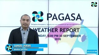 Public Weather Forecast Issued at 5 PM, September 30, 2018