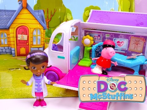 Thumbnail: Disney Doc Mcstuffins Clinic Rescue Peppa Pig with Paw Patrol Sky help - Disney Junior toy episode
