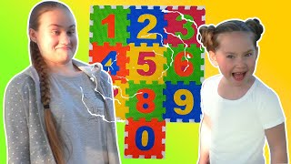 Liza and Dasha fun play and learn numbers | SKORIKI