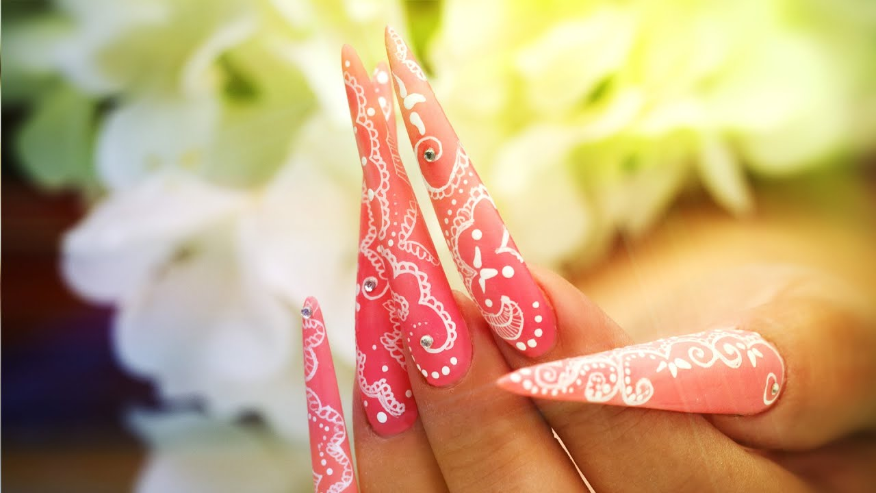 Nail Art - Hand-Painted Lace On Stiletto Tutorial - YouTube