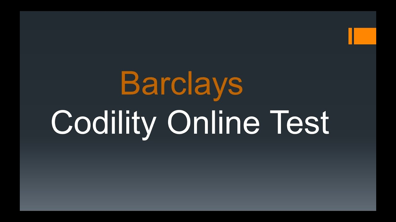 Barclays Online Codility Coding Test