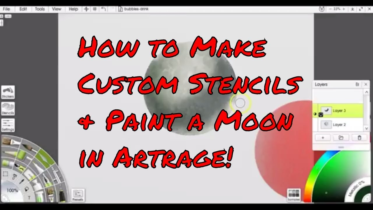 Artrage 5 How To Make Custom Stencils - Paint A Moon Using a Stencil