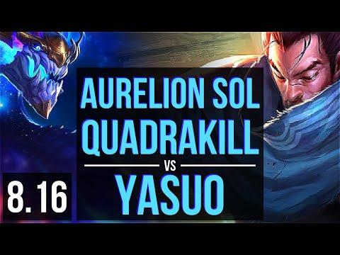 AURELION SOL vs YASUO (MID) ~ Quadrakill, KDA 15/1/5, Legendary ~ Korea Diamond ~ Patch 8.16