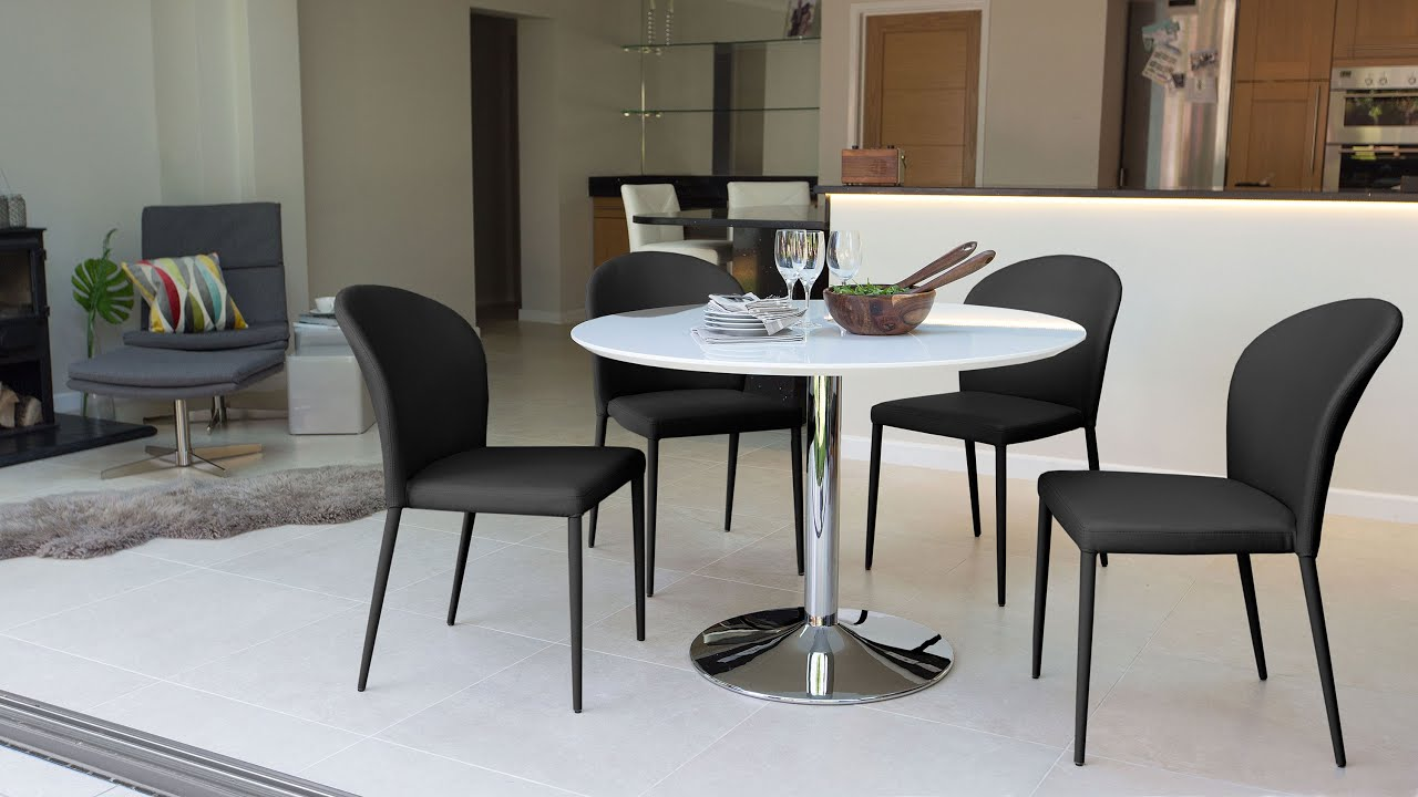 e08c5a03a3 4 Seater White Gloss Dining Set - YouTube
