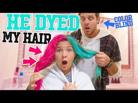 COLOR BLIND DAD DOES DAUGHTERS HAIR!! HOW DOES IT TURN OUT?!  Slyfox Family