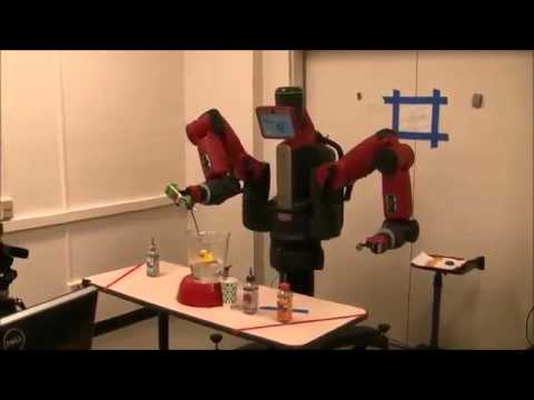 UMD robot learns to make a beverage by observing people.