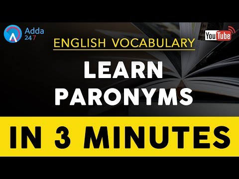 Paronyms | English Vocabulary for SSC CGL 2017