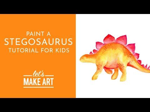 Stegosaurus - Watercolor Tutorial for Kids with Sarah Cray thumbnail