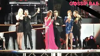 The Jonas Brothers wives on stage for New Year's Eve Countdown!