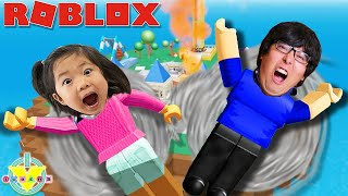 FIRST TIME KATE PLAYS ROBLOX! Ryan's Daddy Let's Play Roblox Escape Tornado and Hurricane!