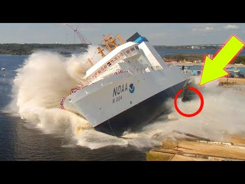 AWESOME BIG SHIP LAUNCHES   Awesome Waves, FAILS and CLOSE CALLS