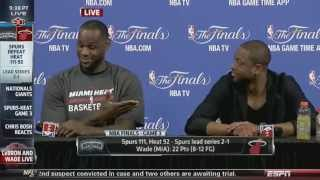 Lebron and Dwyane Wade laugh at reporter Bobby Ramos question