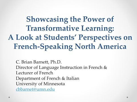 The Power of Transformative Learning: Students' Perspectives on French-Speaking North America