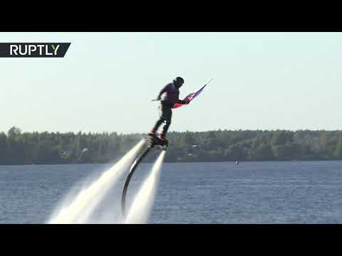 Take off above Volga: Flyboarders perform astonishing manoeuvres