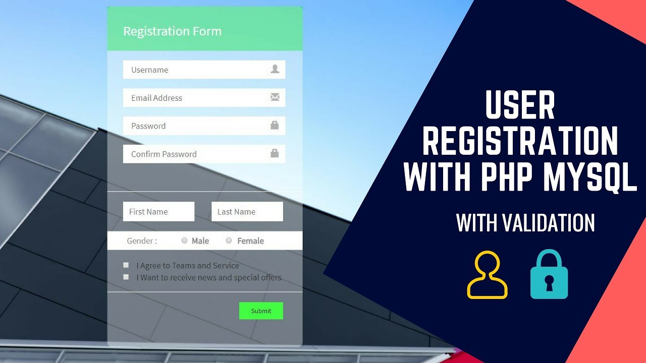 registration form code html5