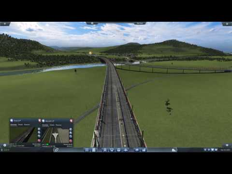 Transport Fever Extreme Long Train Route Megalomaniac 1:5 map with High Speed Train