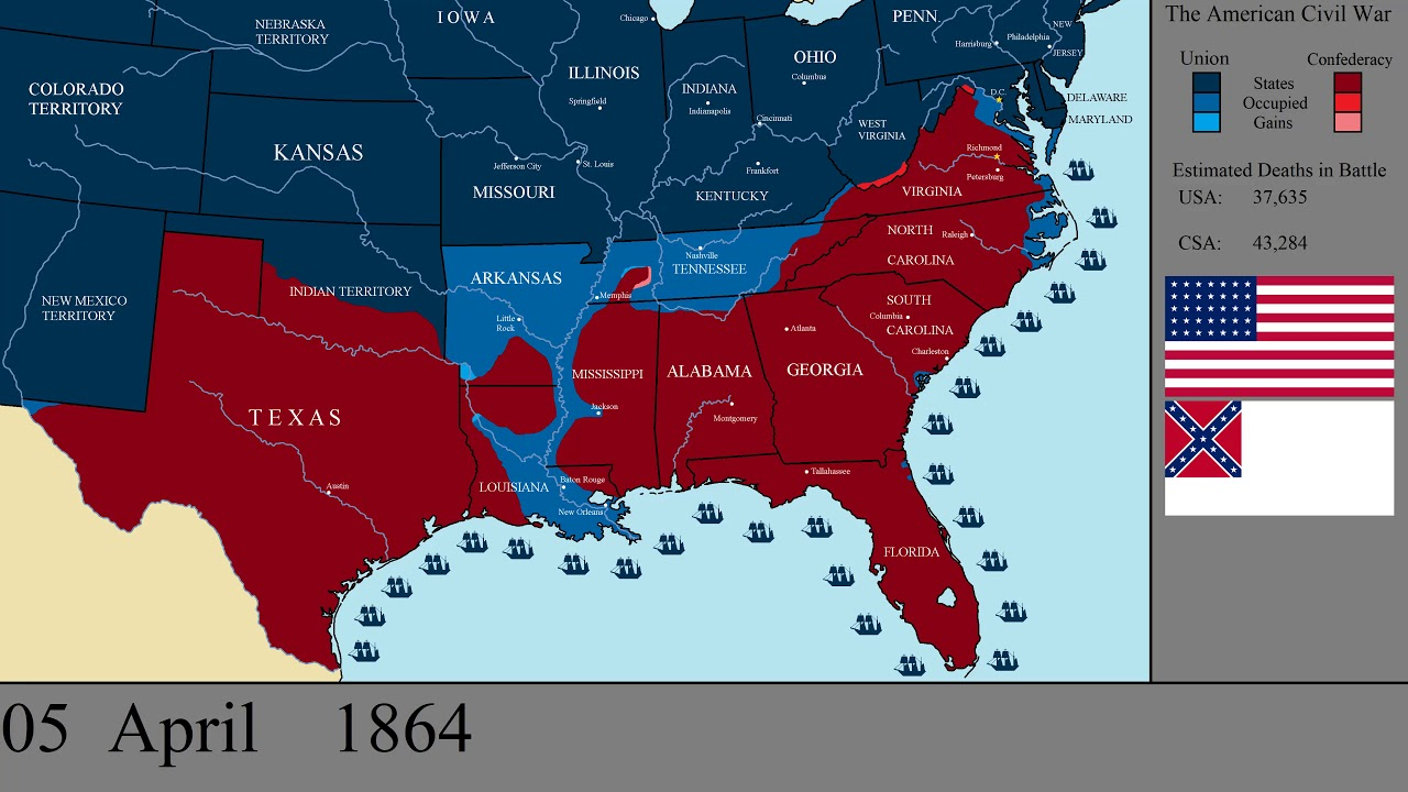 The American Civil War Every Day 20 Youtube - Us-civil-war-map-of-battles