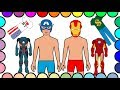 Disney Superheroes Coloring Pages - Captain America & Iron Man Dress up - Art Colours for Kids