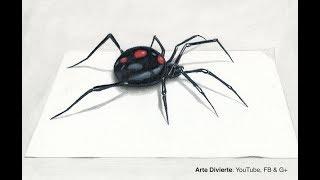 Cómo dibujar una viuda negra en 3D - Araña - Narrado