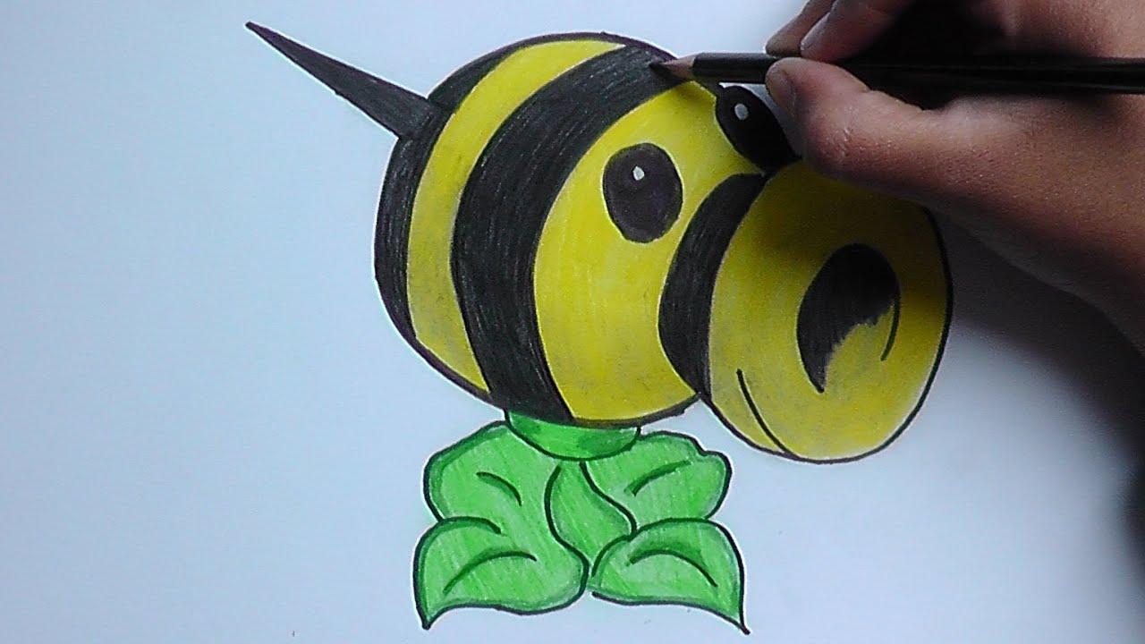 Dibujando y pintando a Lanza abejas (Plantas vs Zombies) - Drawing ...
