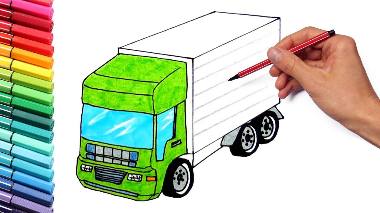 Coloring pictures of cars truck tractors - Drawing Vehicles Truck And Tractor For Kids Learning Trucks Color Pages Nursery Rhymes