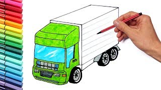 Drawing Vehicles Truck and Tractor for Kids - Learning Trucks Color Pages Nursery Rhymes