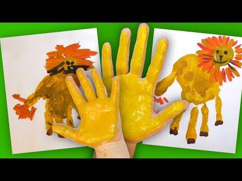 Как нарисовать Льва своими руками (Ладошками), Handprint