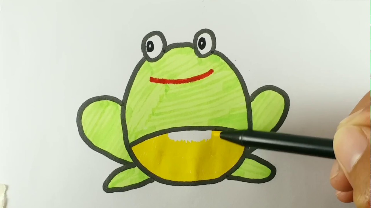 How To Draw And Colour A Cute Frog Easy Drawing And Coloring Step By