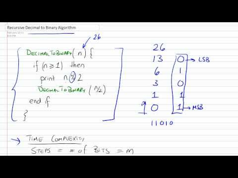 Recursive Decimal to Binary Conversion Algorithm with Time Complexity Part 1/2