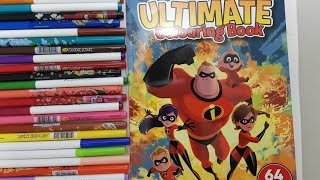 Coloring Disney pixar incredibles 2 family hero work coloring page|crayola doodle scents markers