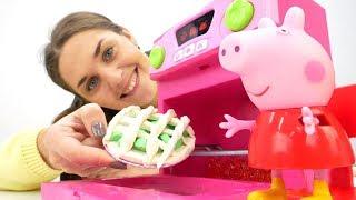 Видео для детей с игрушками: Пеппа готовит яблочный пирог