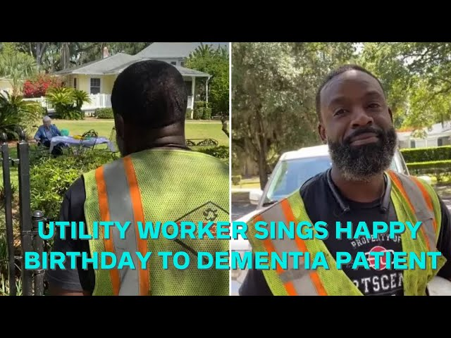 Florida utility worker sings Happy Birthday to nursing home resident