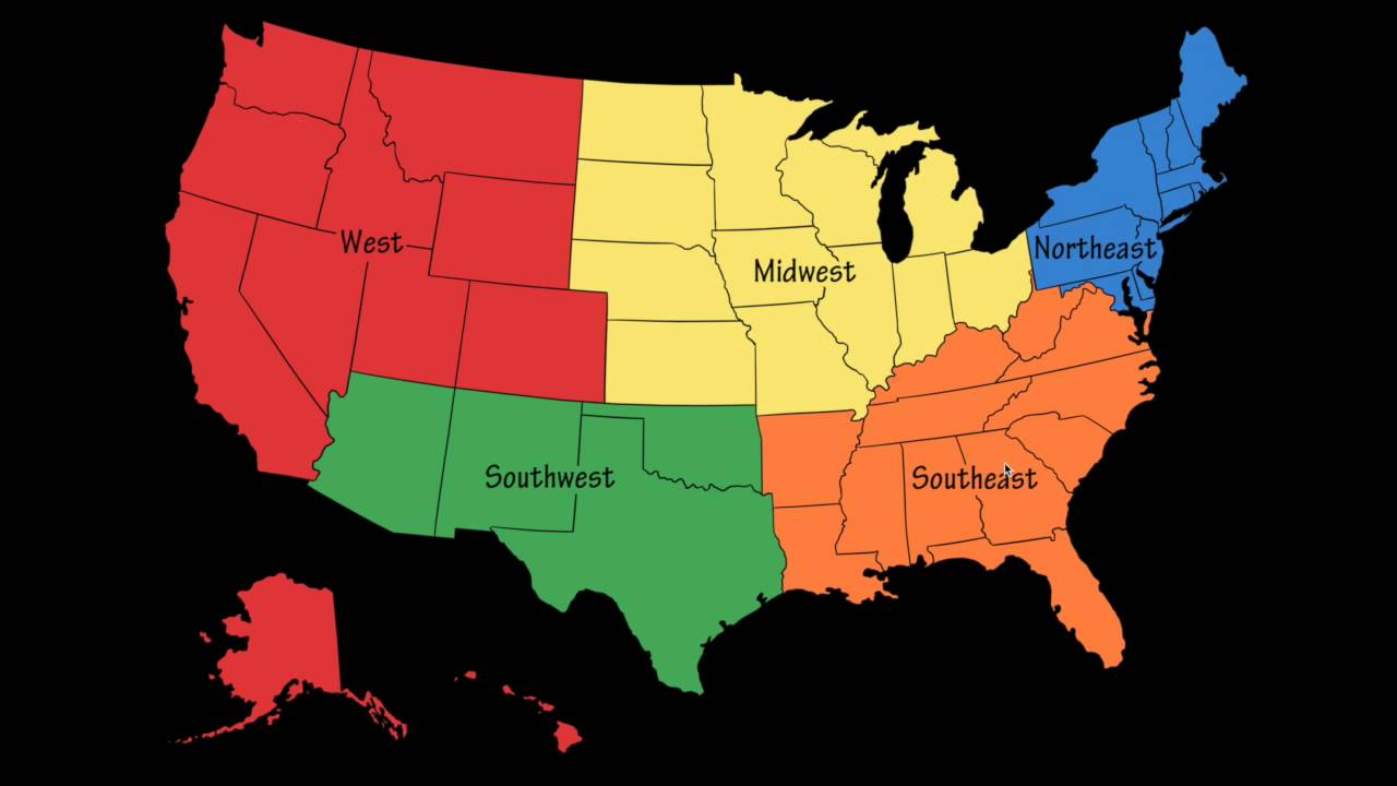Regions Of The U S FINAL YouTube - Map of the 5 regions of the us