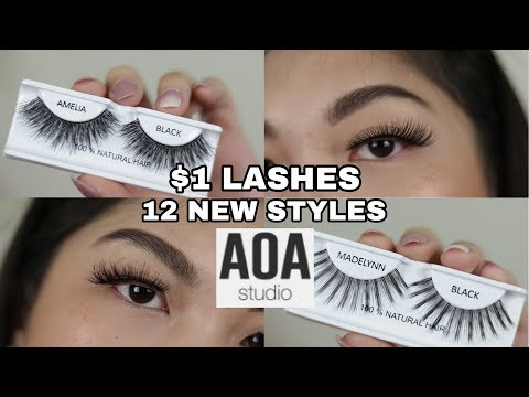 fb12fd8e33b SHOPMISSA AOA $1 LASHES TRY ON | 12 NEW STYLES | 2018 LAUNCH - YouTube