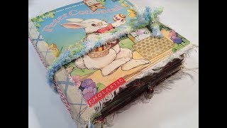 Altered Childrens Story Book into a Junk Journal  -  Re-purposed book titled Peter Cottontail