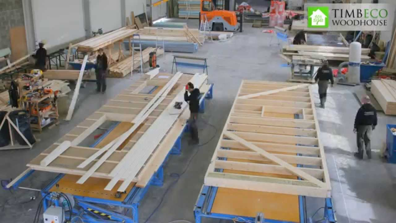 Prefab timber frame element closed panel manufacturing for Prefabricated wood trusses