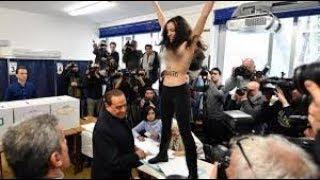 В Милане полуголая активистка Femen атаковала Берлускони