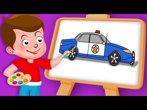 Drawing Police Car Paint And Colouring For Kids | Kids Drawing TV
