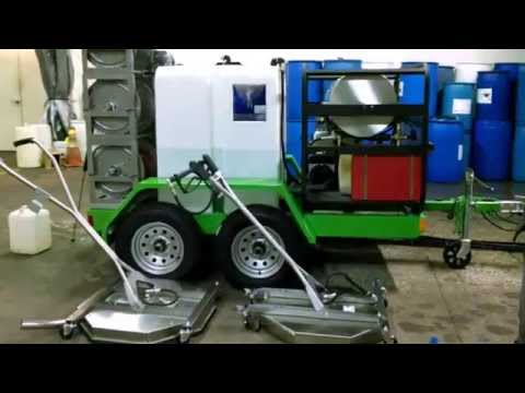 SERVPRO Hot water pressure washer trailer with wastewater recycling & accessories.