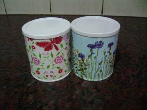 Decoupage latas youtube for Papel para forrar madera