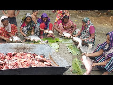 Big Fish Cooking | 33 KG, 11 Pieces Pangasius Fish Prepared To Feed Kids & Villagers