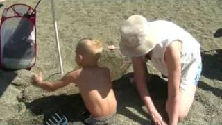 44 Mama buries Aidan in the sand at Aldergrove Lake