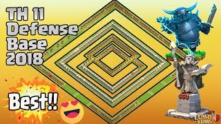 BEST TH11 STRONG DEFENSIVE LEGEND BASE 2018 REPLAY | ANTI 0 STAR BASE/ANTI LAVALOON AFTER NEW UPDATE