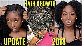 FAST Natural Hair Growth UPDATE Length Check 2018! Taking Down My Cornrow Braids!