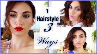 1 Hairstyle 3 Ways - How To Curl Short Hair | RubyGolani Thumbnail