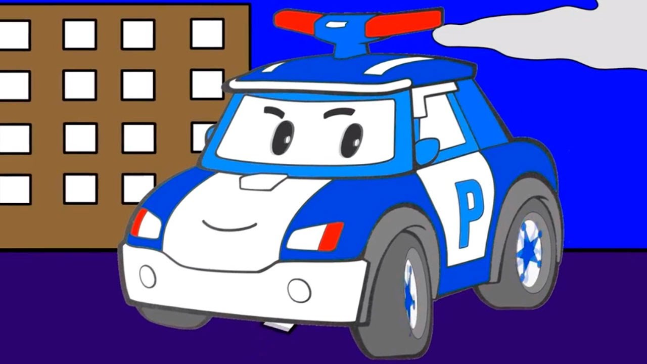 çizgi Film Robocar Poli Polis Arabası Helikopter Temizlik