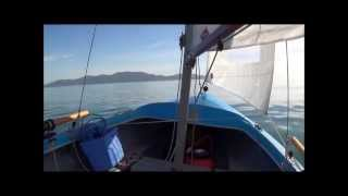 Townsville Sailing. Daybreak start, motor and slow sail, ghboatworks semidory lobster boat