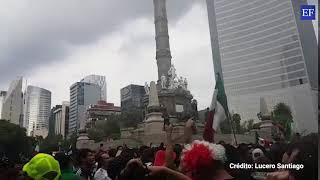 Siguen los festejos en El Ángel por el triunfo de México 2 a 1 ante Alemania