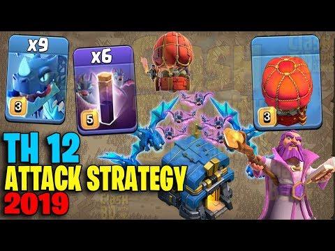 9 Electro Dragon + 6 Max Bat Spell + Stone Slammer :: TH12 ATTACK STRATEGY 2019