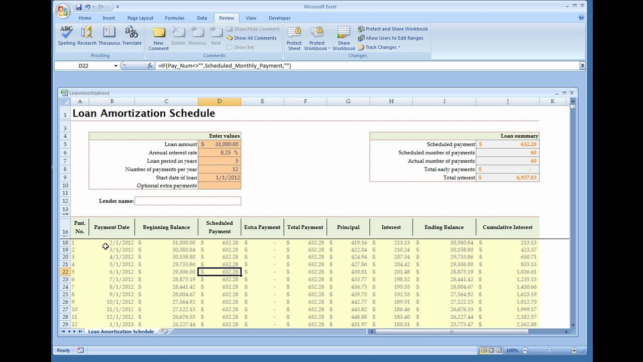 Loan Amortization Calculator Installed Excel Template YouTube – Excel Amortization Schedule